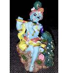 "Krishna with Peacock small size Polyresin Figure (2.5"" high)"