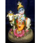"""Krishna With Cow  Polyresin Figure (5"""" high)"""