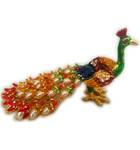"Colorful Peacock with Pearls (6"" length)"
