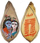 Radha-Krishna with Flute and Mahamantra on Back Japa Bead Bag (Embroidered)
