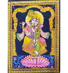 "Wall Hanging -- Radha and Krishna Standing in Lotus Flower (30""x40"")"