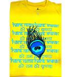 T-Shirt: Peacock Feather with Hare Krishna Mantra