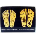 "Acrylic Stand -- Radha Krishna Lotus Feet (4"" x 3"")"
