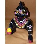 """Laddu Gopal Painted Black Brass Sitting Deity 7"""""""