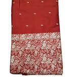 Sari, Silk  Wedding -- Red With Big Embroidered White / Silver floral border